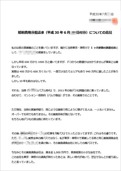 審判-婚姻費用分担請求の反論書面TOP
