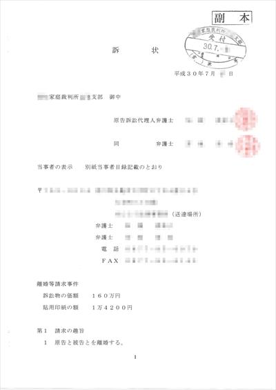 離婚裁判-訴状TOP