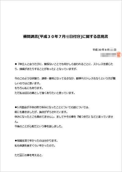 元嫁の審問調書への反論TOP-面会交流審判
